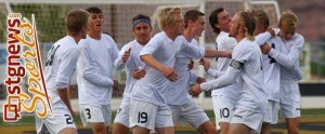 DH's Tanner Browning (19) celebrates with teammates after his second-half goal vs. the Flyers, Dixie at Desert Hills, St. George, Utah, April 5, 2013 | Photo by Robert Hoppie, St. George News