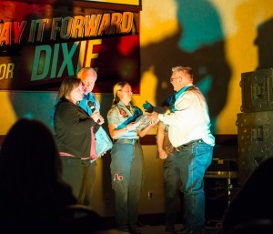 Hurricane mayor Tom Hirschi and his daughter, Toni Imlay, honoring Hurricane Fire and Ambulance paramedics at Pay It Forward for Dixie, St. George, Utah, April 20, 2013 | Photo by Dave Amodt, St. George News
