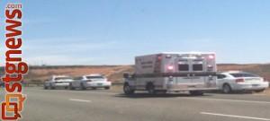Single-vehicle accident on I-15 near milepost 13, Washington City, Utah, April 29, 2013 | Photo by Jason Little for St. George News