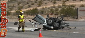 Semi-trailer-automobile accident at 3424 River Road, St. George, Utah, April 25, 2013 | Photo by Mori Kessler, St. George News