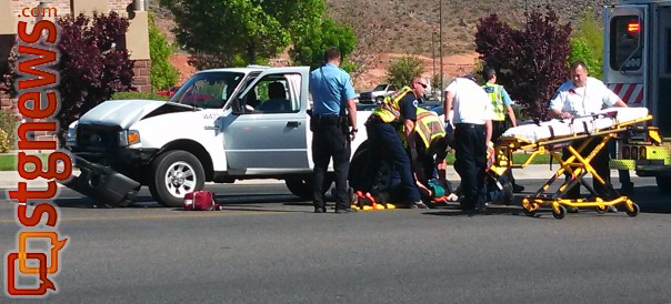 A two-vehicle accident on River Road sent two people to the hospital and slowed traffic, St. George, Utah, April 12, 2013 | Photo by Mori Kessler, St. George News