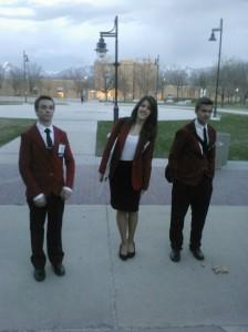(L-R) Kade McKean, Amanda Bartholomew and Rudy Ashford, Skills USA DXATC Chapter leadership team, Salt Lake City, Utah, March 28, 2013 | Photo courtesy of Greg Bartholomew