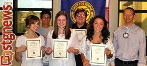 Back row (L-R): Kevin Chaves, Wesley Ian Sullivan and St. George Exchange Club President Danny Wittwer; front row (L-R): Mary Garceau, Aspen Lowe and Chandlie Stratton, St. George Exchange Club March 2013 Students of the Month | Photo courtesy of Brian Tenney