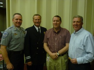 Pictured: Washington Police Chief Jim Keith (left); Washington Fire Chief Brent Hafen (center left); Washington City Manager Roger Carter (center right); and Mayor Kenneth Neilson (right), Washington, Utah, April 3, 2013 | Photo courtesy of Shelly Griffin