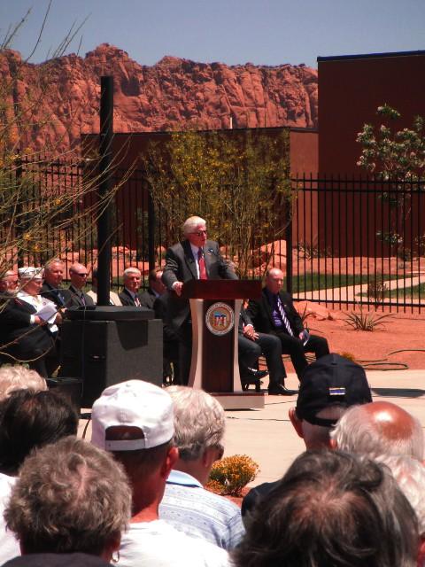Rep. Don Ipson speaks at the dedication of the Southern Utah Veterans Home, Ivins, Utah, May 23, 2013   Photo by Alexa Verdugo Morgan, St. George News