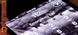 A mobile phone dialing the international emergency number 112