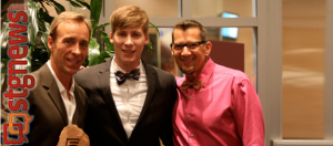 """L to R: Award recipient Matt Marten, Oscar award winner  for """"Milk"""" and keynote speaker, Dustin Lance Black,  Marten's partner Joey. Equality Celebration: Come out for Equality at Dixie Center St. George, St. George, Utah, May 18, 2013 