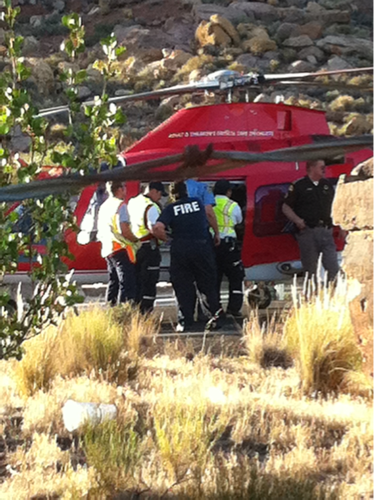 A single-vehicle rollover on I-15 near Leeds ejected the driver who was taken to Las Vegas via Life Flight, Leeds, Utah, May 25, 2013 | Photo courtesy of  Brayden Bracken, St. George News