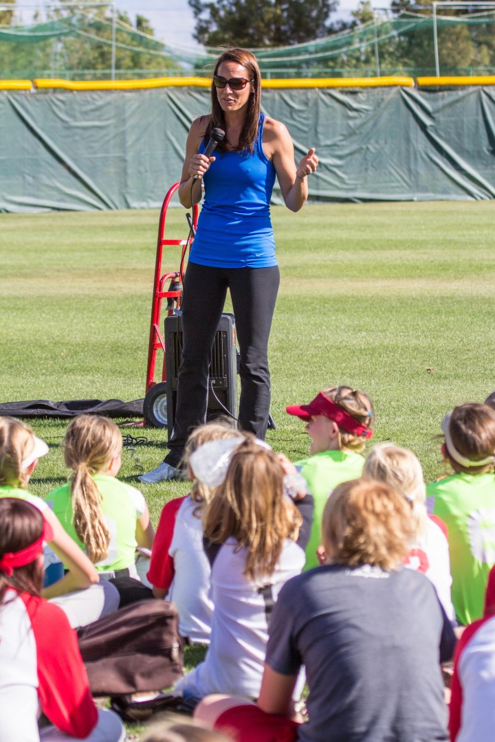 Former US Olympic softball player Amanda Freed speaks to local youth at the NJCAA softball clinic at The Canyons Tuesday, St. George, Utah, May 14, 2013 | Photo by Chris Caldwell, St. George News