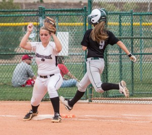Mallory Maclellan forces out Payson's Shelby Shurtliff Thursday afternoon at the 3A State Softball Tournament, Pine View vs. Payson. St. George, Utah, May 16, 2013 | Photo by Chris Caldwell, St. George News