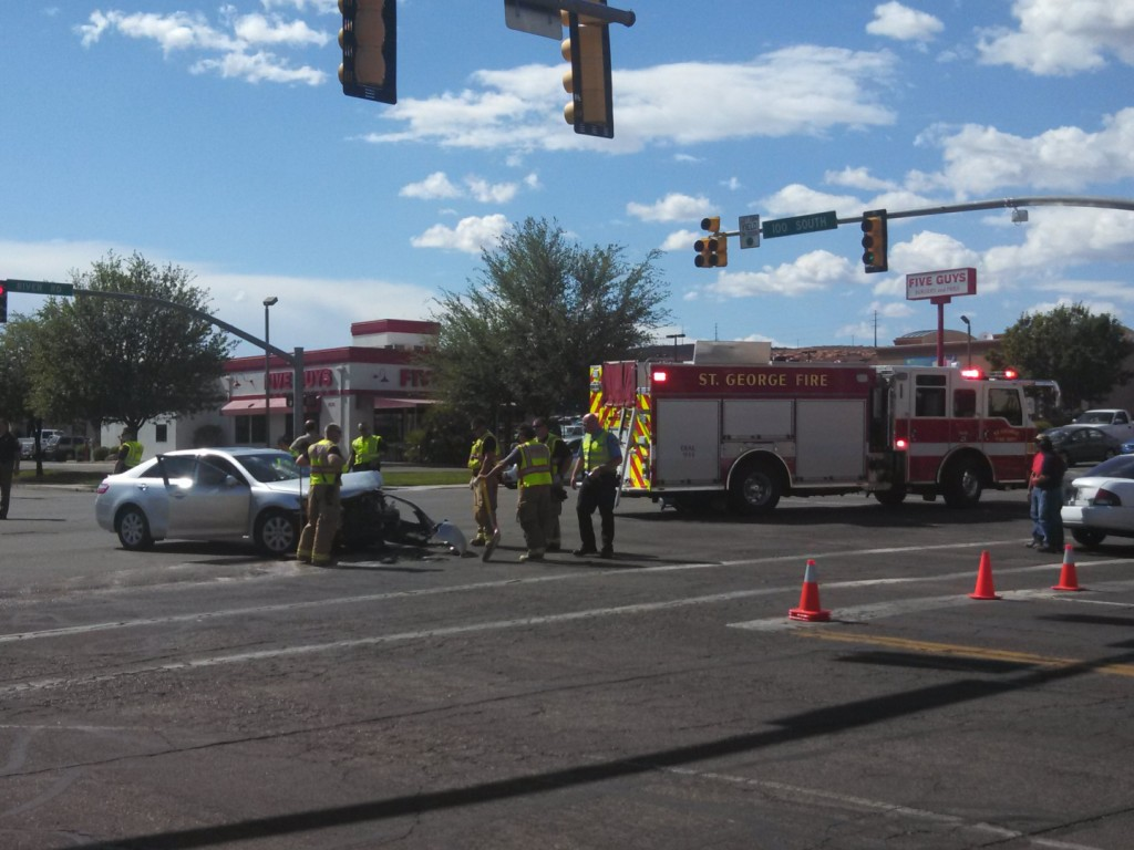 Two Car Crash Between Chick Fil A And Five Guys St George News