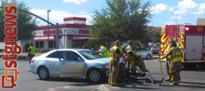 Aftermath of accident in the intersection of River Road and 100 South, St. George, Utah, April 7, 2013 | Photo by Shane Brinkerhoff, St. George News
