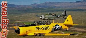 T-6 Texans in flight, St. George, Utah, undated   Photo courtesy of Rebecca Edwards