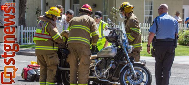 Car versus motorcycle accident on Main Street, St. George, Utah, May 15, 2013 | Photo by Chris Caldwell, St. George News