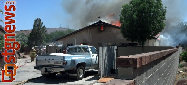 Fire crews respond to blaze at 3205 Threebars Road, St. George, Utah, May 15, 2013 | Photo by Joyce Kuzmanic, St. George News