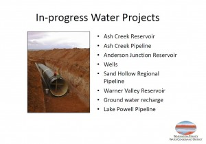In-progress projects involving current water resources | Image courtesy of the Washington County Water Conservancy District