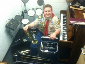 Boy Scout Corbie Campbell, 16, of St. George, is using his Eagle Scout Leadership Service Project as a way to put musical instruments in the hands of students may otherwise be denied the opportunity play in a school band due to lack of resources, St. George, Utah, May 10, 2013 | Photo courtesy of Chip Campbell