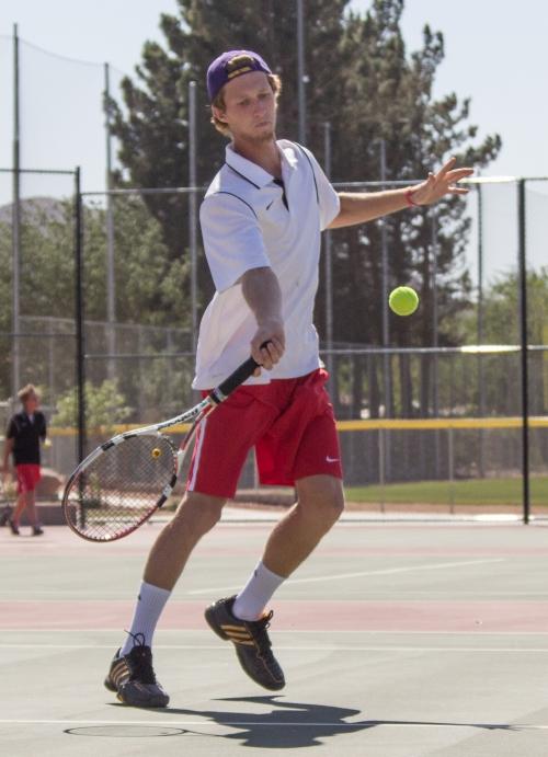 Karter Beardall for Hurricane; Hurricane High School vs. Pine View High School boys' tennis match, Hurricane, Utah, May 1, 2013 | Photo by Chris Caldwell, St. George News