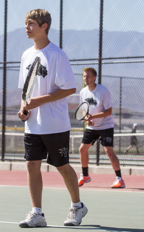 Marshall Maxwell (left) and Aaron Fielding for Pine View; Hurricane High School vs. Pine View High School boys' tennis match, Hurricane, Utah, May 1, 2013 | Photo by Chris Caldwell, St. George News