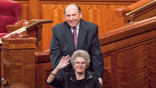 President and Sister Monson wave to the congregation following a session of general conference, Salt Lake City, Utah, date unknown | Photo courtesy of the Church of Jesus Christ of Latter-day Saints