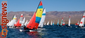 Hobie Fleet 941 sails on Sand Hollow Reservoir, Hurricane, Utah, undated | Photo courtesy of Raul Hevía