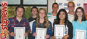 St. George Exchange Club April 2013 Students of the Month and President-Elect; Back row (L-R) Brian Brantz Warren, Cameron Hughes, Adam Esplin and Brett Labrum; Front row (L-R) Tanner Gilman, Abby Woods, Dorah James and Kathryn Olmstead, St. George, Utah, May 9, 2013 | Photo courtesy of Brian Tenney