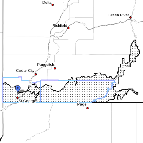 Dots denote Fire Weather Zones 497 and 498, Mojave Desert and Grand Staircase, Washington and Kane Counties, Utah, Radar time 7 a.m., June 14, 2013 | Image courtesy of National Weather Service
