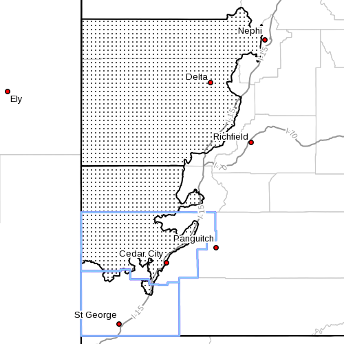 Dots denote wind advisory affected area. Radar time 8:40 a.m. Southern Utah, June 18, 2013 | Image courtesy of the National Weather Service, St. George News