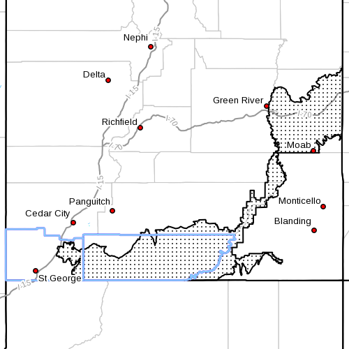 Dots denote area subject to Red Flag Alert, Fire Weather Zones 490 and 498, Colorado Basin and Grand Staircase, Southern Utah, Radar time 5:25 a.m., June 20, 2013 | Image courtesy of National Weather Service