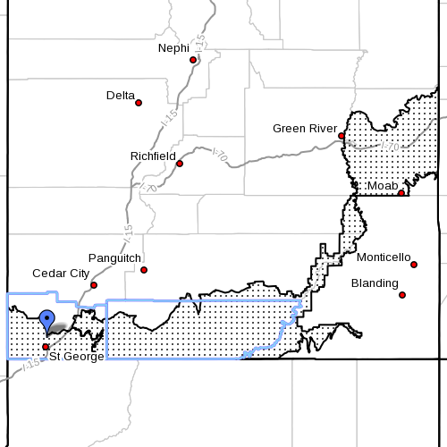 Dots denote affected area, Fire Weather Zones 490 (Colorado River Basin), 497 (Mojave Desert) and 498 (Grand Staircase). Radar time 10:15 a.m. Southern Utah, June 24, 2013 | Image courtesy of National Weather Service