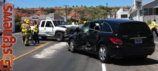 A pickup truck ran a stop sign impacted the driver side of a passing vehicle, temporarily blocking a part of the roadway, St. George, Utah, June 17, 2013 | Photo by Mori Kessler, St. George News