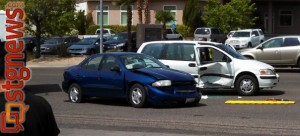 A three-vehicle accident sent two people the hospital and left another with a citation for distracted driving. St. George, Utah, June 3, 2013 | Photo by Mori Kessler, St. George News