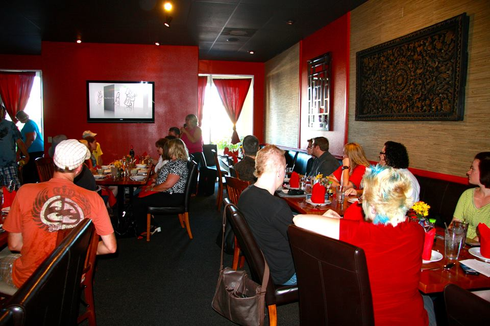 "Linda Stay speaks as attendees await a screening of ""Time Dances On,"" Benja's Thai Garden, St. George, Utah, June 27, 2013 