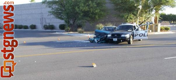 A drunk driver crashed into a police patrol car on Hillside Drive in Mesquite, Nev., June 22, 2013 | Photo courtesy of the Mesquite Police Department.