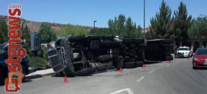 Moss semitrailer overturned on Bloomington roundabout, St. George, Utah, June 9, 2013 | Photo by Joyce Kuzmanic, St. George News