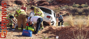 Vehicle accident at 200 East Red Hills Parkway, St. George, Utah, June 22, 2013 | Photo by Jason Little, St. George News