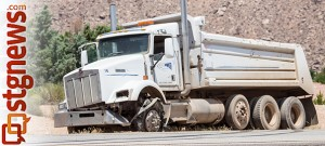 Dump truck suffers tire blowout on I-15 near mile marker 3, St. George, Utah   Photo by Chris Caldwell, St. George News