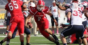 Dixie State's Griff Robles (7) and the red Storm football team went 3-8 in 2012. | Photo courtesy Dixie State athletics