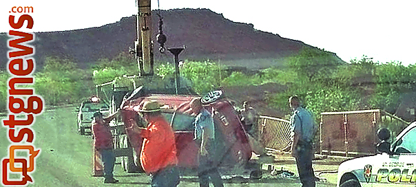 Loose gravel and speeding cause rollover on Snow Canyon Parkway, St. George, Utah, June 3, 2013 | Photo courtesy of Shannon B. Evertsen, St. George News