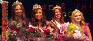 (L-R) Miss Congeniality Sara Moss, 1st Attendant Martha Brown, Miss St. George Teddi Cox and 2nd Attendant Hillary Beecher, 2013 Miss St. George royalty, St. George, Utah, May 29, 2013 | Photo courtesy of Jill Bailey