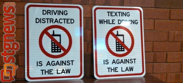 Examples of no texting signs soon to be seen along streets in St. George, Utah, June 20, 2013 | Photo by Mori Kessler, St. George News