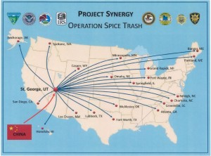 Map of where the spice was sent to home the operation's headquarters in St. George | Image courtesy of the U.S. Department of Justice