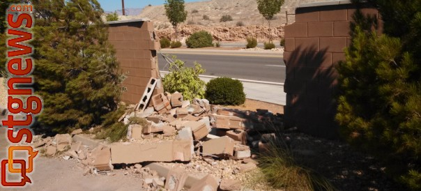 Gap left in a wall on Hidden Valley Drive near Price Hills Drive after a truck plowed though it, St. George, Utah, June 28, 2013 | Photo by Mori Kessler, St. George News
