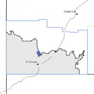 Dots denote Fire Weather Zone 497, Mojave Desert, Washington County, Utah, Radar time 5:30 a.m., June 11, 2013 | Image courtesy of National Weather Service