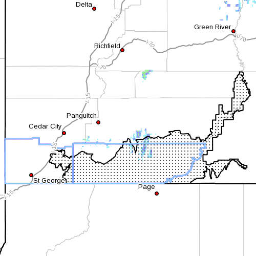 Dots denote Fire Weather Zone 498, Grand Staircase, Washington and Kane Counties, Utah, Radar time 5:50 a.m., June 13, 2013 | Image courtesy of National Weather Service