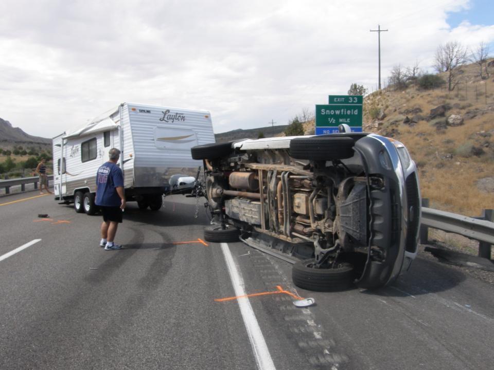 Truck Pulling Travel Trailer Overturns On I 15 St George