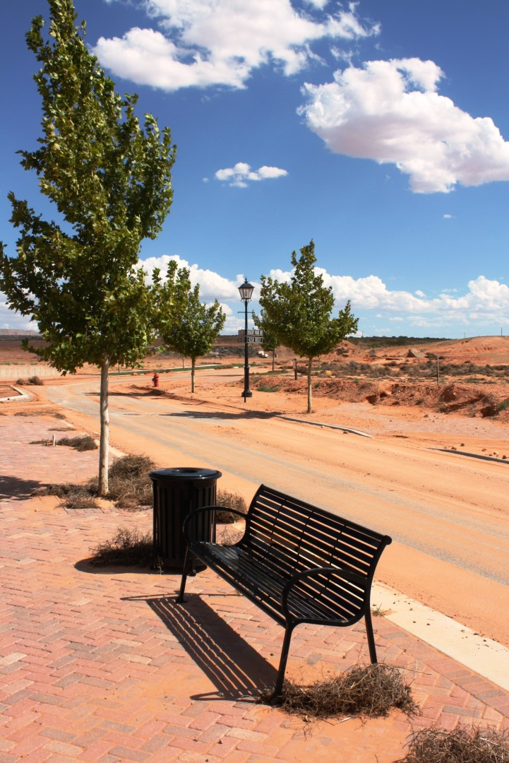 Benches, trees, and tumbleweeds line some of Elim Valley's streets, July 29, 2013   Photo by Reuben Wadsworth, St. George News.