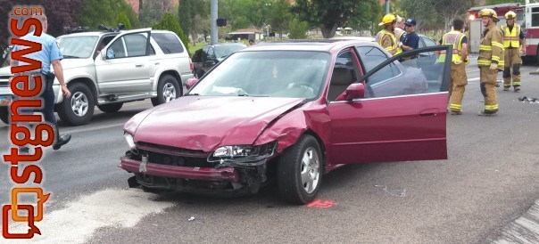 A car running a light triggered a five-car accident at the intersection of 100 South and 700 East, St. George, Utah, July 23, 2013   Photo by Mori Kessler, St. George News