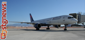 A Delta charter Boeing 757 arrived at St. George Municipal Airport on Wednesday Morning. The plane was chartered by Stampin' Up!, a Kanab-based sales and manufacturing organization. | Photo by Michael Flynn, St. George News