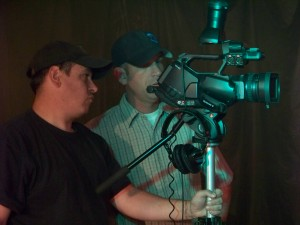 """Director of Photography Greg Benoit left Tony Mendoza right in """"Pitching Hope,"""" a film by writer and director Tony Mendoza, 2013   Publicity photo courtesy of Tony Mendoza, St. George News"""